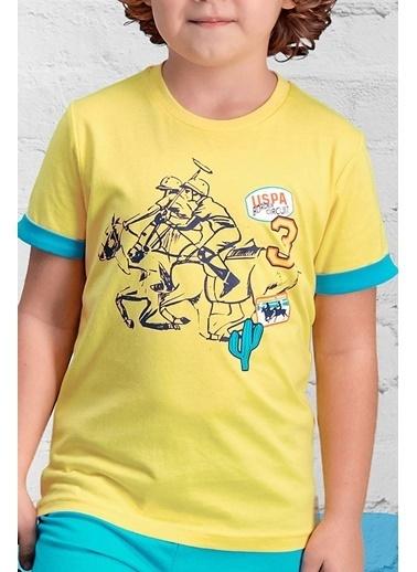 U.S. Polo Assn. U.S. Polo Assn Lisanslı Yeşil Erkek Çocuk Pijama Takımı Sarı